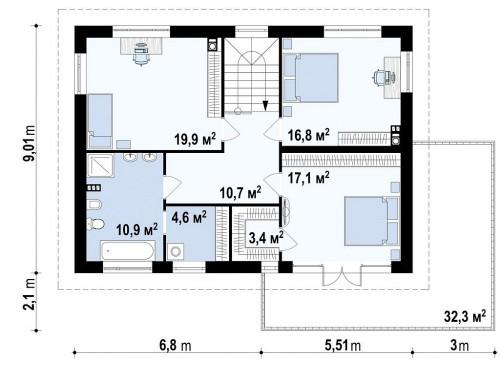 Проект практичного двухэтажного дома простой формы с низкой крышей, с гаражом для двух автомобилей - ZX26