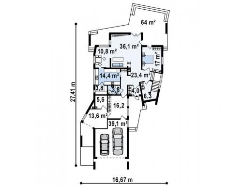 Проект роскошного особняка эксклюзивного дизайна с плоской крышей - ZX27