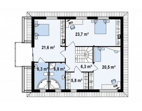 Проект Zx29 k Комфортабельный двухэтажный дом простого современного дизайна. Кирпичная облицовка фасадов.  Проекты домов и гаражей