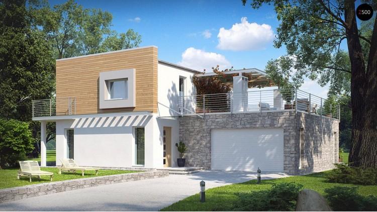 Проект оригинального дома в современном стиле с обширной террасой над гаражом - ZX3
