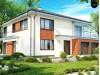 Проект комфортабельного двухэтажного дома простой формы со стеклянным эркером над гаражом - ZX30