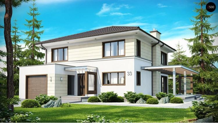 Проект двухэтажного дома со свободным пространством над гостиной - ZX33