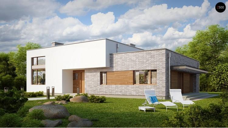Проект одноэтажного практичного дома с плоской крышей современного дизайна - ZX34