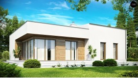 Проект современного функционального дома с большой площадью остекления в гостиной - ZX35