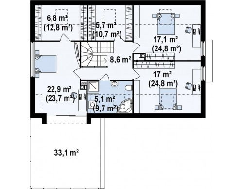 Проект элегантного просторного дома современного дизайна с пятью спальнями и террасой на втором этаже - ZX36