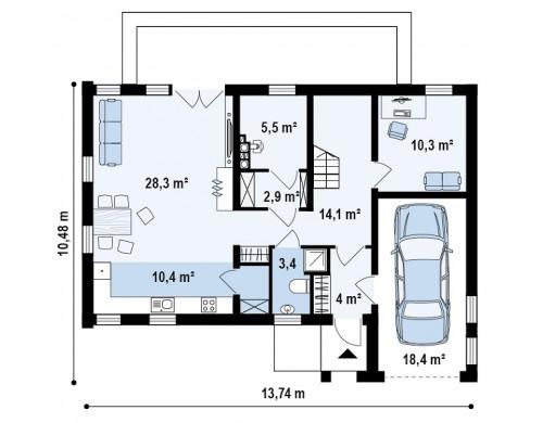 Проект дома с мансардой современного характера с частично встроенным гаражом - ZX38