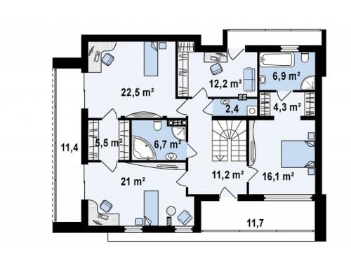 Проект дома с плоской крышей современного дизайна с гаражом и кабинетом на первом этаже - ZX39