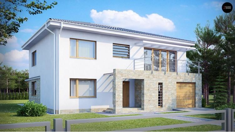 Проект двухэтажного дома с гаражом для одной машины, с интересным оформлением входной зоны - ZX4