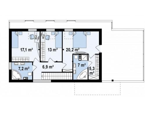 Проект эксклюзивного дома с каменной облицовкой, подходящий для узкого участка - ZX40
