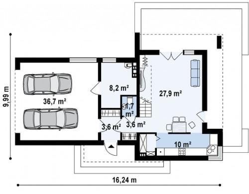 Проект двухэтажного дома в стиле модерн с обширной террасой над гаражом - ZX41