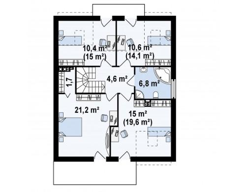 Проект современного дома с уютным и функциональным интерьером. Интересное сочетание двускатной крыши и кубических форм - ZX44