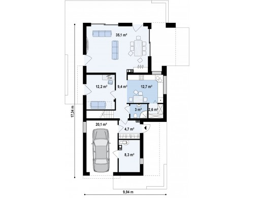 Дом характерного современного дизайна с гаражом и кабинетом на первом этаже - ZX45
