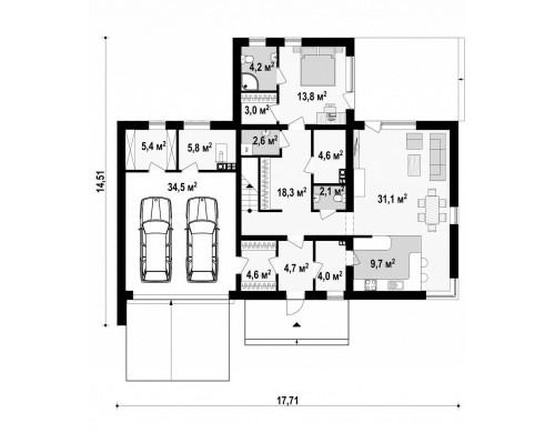 Проект Zx46 GL2 Комфортная резиденция, современный дизайн, оптимальная планировка помещений.  Проекты домов и гаражей