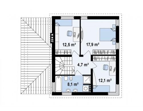 Проект двухэтажного дома, сочетающий традиционные формы и современный дизайн, с тремя спальнями и гаражом - ZX47