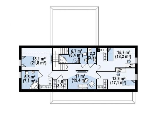 Проект дома современного минималистичного дизайна с двумя дополнительными спальнями на первом этаже - ZX48