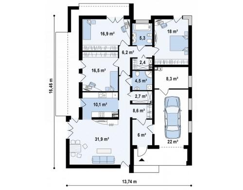 Прекрасное сочетание строгих минималистичных форм и уютного практичного интерьера - ZX49