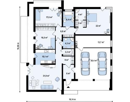 Проект Zx49 GP2 Подвариант одноэтажного дома Zx49 с гаражом для двух машин.  Проекты домов и гаражей