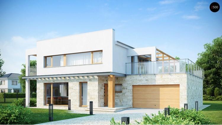 Проект двухэтажного дома в современном стиле с обширной террасой над гаражом - ZX5