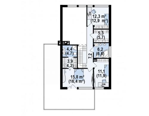 Проект просторного современного дома элегантного дизайна с террасой над гаражом - ZX50
