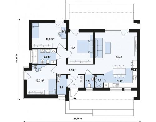 Проект одноэтажного дома в стиле тихоокеанского бунгало простой и функциональной планировкой - ZX53