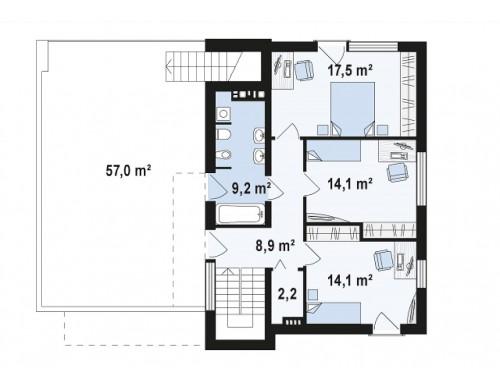Проект комфортного современного дома с гаражом для двух авто и обширной террасой на втором этаже - ZX54