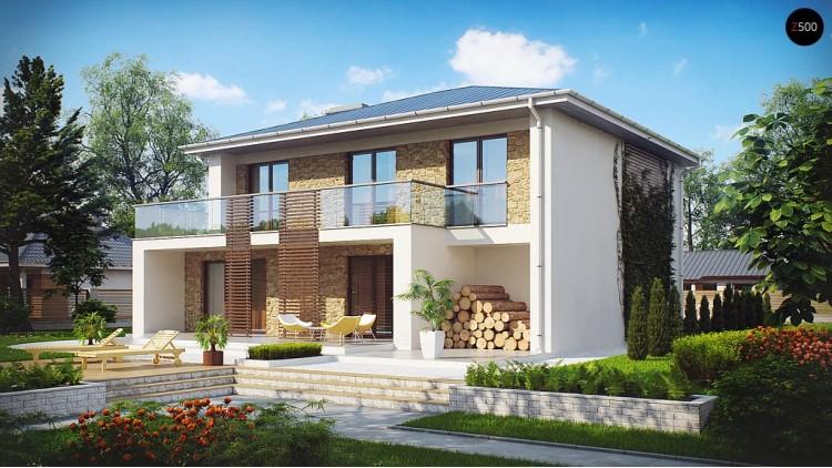 Проект просторного и комфортный двухэтажный дом с большими окнами - ZX55
