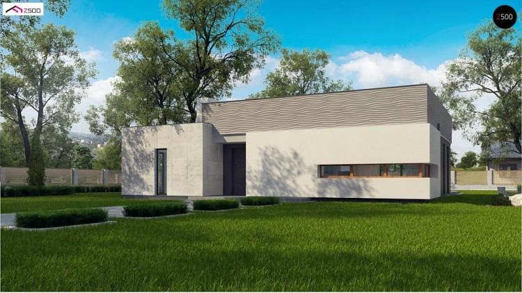 Проект Zx56 bG Проект современного дома с плоской кровлей и просторной открытой дневной зоной.  Проекты домов и гаражей
