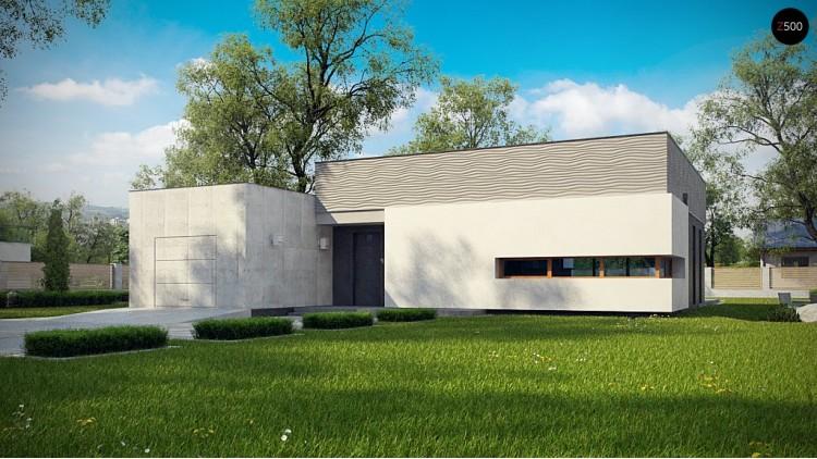 Проект Zx56 Проект одноэтажного дома в стиле модерн эффектной формы  Проекты домов и гаражей