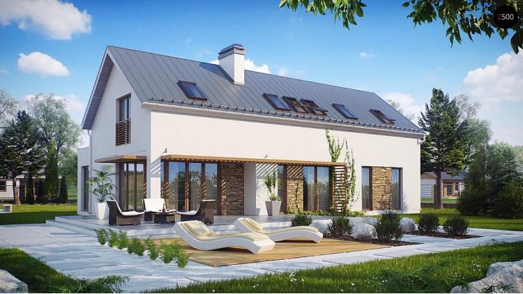 Проект современного дома простой формы. Открытое пространство гостиной, функциональная планировка - ZX58