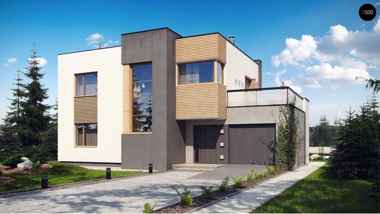 Двухэтажный дом в модернистского дизайна с гаражом и террасой на верхнем этаже - ZX59