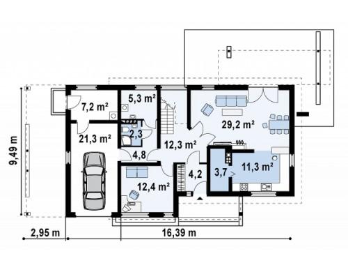 Проект двухэтажного дома с террасой над гаражом и навесом для гостевой машины - ZX6
