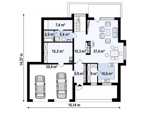 Проект двухэтажного дома с гаражом для двух авто, с баней