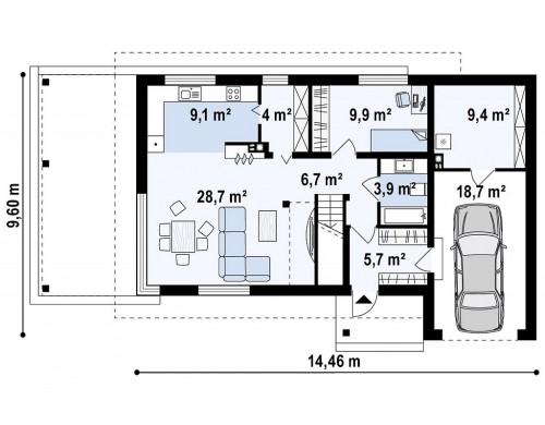 Проект Zx63 B + s Проект двухэтажного дома Zx63 B + адаптированный под строительство в сейсмических районах  Проекты домов и гаражей