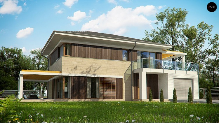 Увеличенная версия проекта современного дома Zx63 B