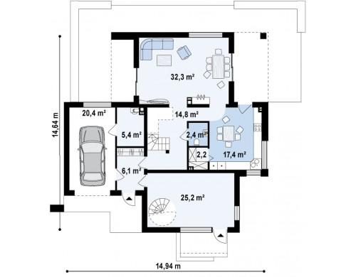 Комфортный современный дом с дополнительным помещением для коммерческого использования - ZX64
