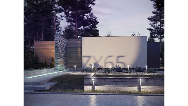 Проект Zx65 Одноэтажный дом в стиле хай-тек с плоской кровлей и большой площадью остекления.  Проекты домов и гаражей