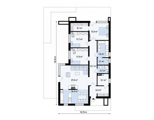 Проект Zx67 Одноэтажный дом в современном стиле, с большими застекленными окнами  Проекты домов и гаражей