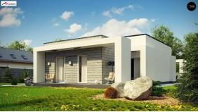 Проект Zx69 Одноэтажный дом с плоской крышей и крытыми террасами  Проекты домов и гаражей