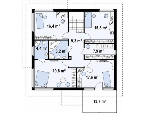 Проект двухэтажного дома с удлиненным гаражом для двух автомобилей - ZX7