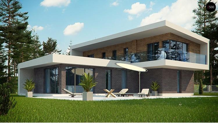 Проект Zx70 Стильный современный коттедж с плоской кровлей  Проекты домов и гаражей