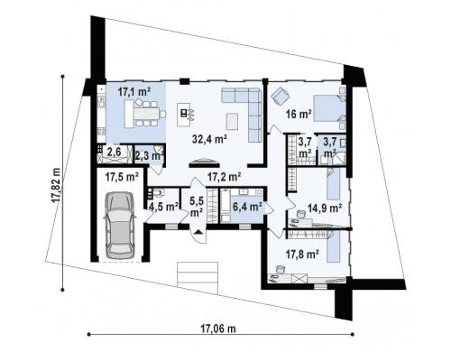 Проект Zx71 Одноэтажный коттедж с гаражом на одну машину и уютной террасой  Проекты домов и гаражей