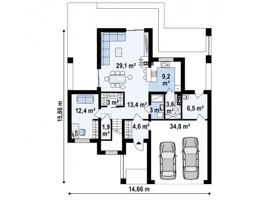 Проект Zx74 Современный дом с гаражом на 2 машины и террасой на первой  Проекты домов и гаражей