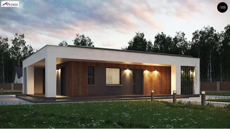Проект Zx76 D Компактный коттедж современного дизайна с плоской кровлей  Проекты домов и гаражей