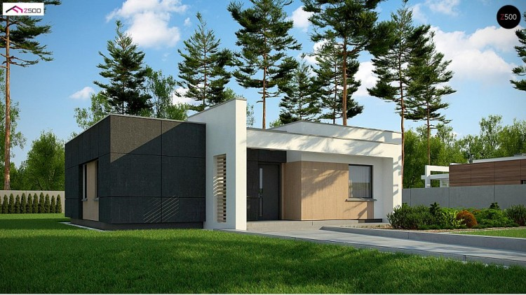 Проект Zx77 A nowoczesny dom parterowy z 2 sypialniami do 90m2  Проекты домов и гаражей