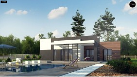 Проект Zx78 Одноэтажный дом с плоской кровлей, тремя спальнями и гаражом на две машины  Проекты домов и гаражей