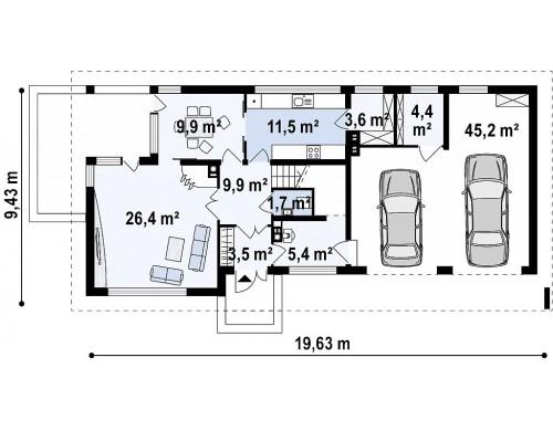 Проект Zx8 GP2 Двухэтажный дом с низкой кровлей с двухместным гаражом  Проекты домов и гаражей