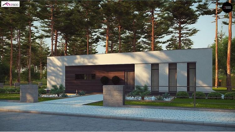 Проект Zx80 Современный одноэтажный дом с боковой террасой  Проекты домов и гаражей