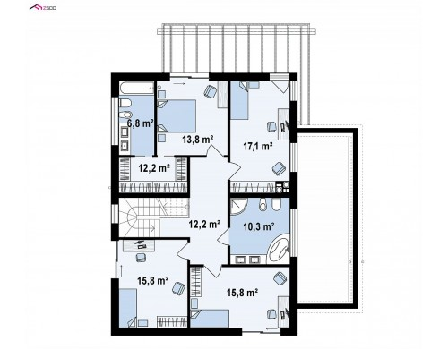 Проект Zx91 Простой, современный дом площадью около 170 м2 с 5 спальнями и гостиной.  Проекты домов и гаражей