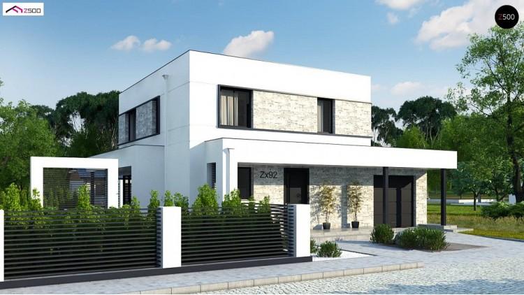 Проект Zx92 GP Проект двухэтажного дома с дополнительной комнатой на первом этаже и гаражом на один автомобиль.  Проекты домов и гаражей