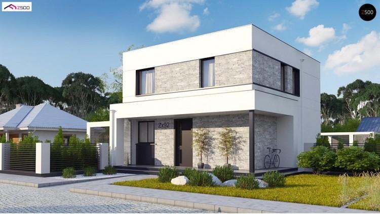 Проект Zx92 Простой аккуратный проект двухэтажного дома с плоской кровлей  Проекты домов и гаражей